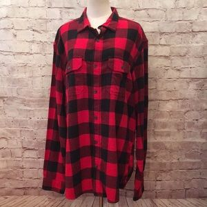 Buffalo Plaid Flannel Shirt Old Navy Red Black NEW